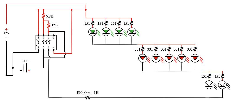 Circuito Luces Led Intermitentes : Solucionado duda sobre cómo conectar resistencias en un
